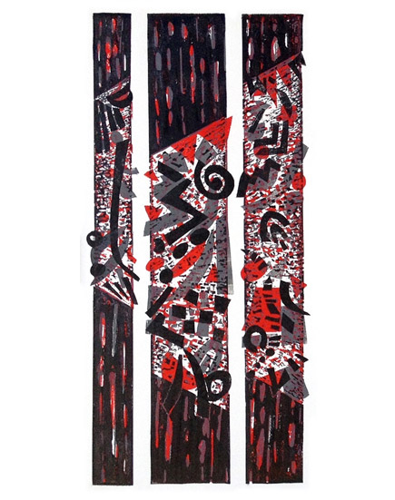 SEDIMENTARY SHIFT 1 Linocut 81x48cm
