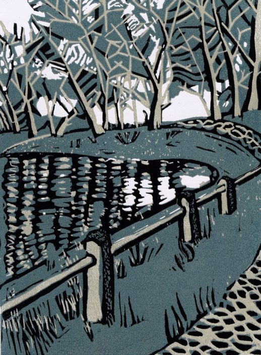 BETWEEN THE PONDS linocut 32x27cm POA