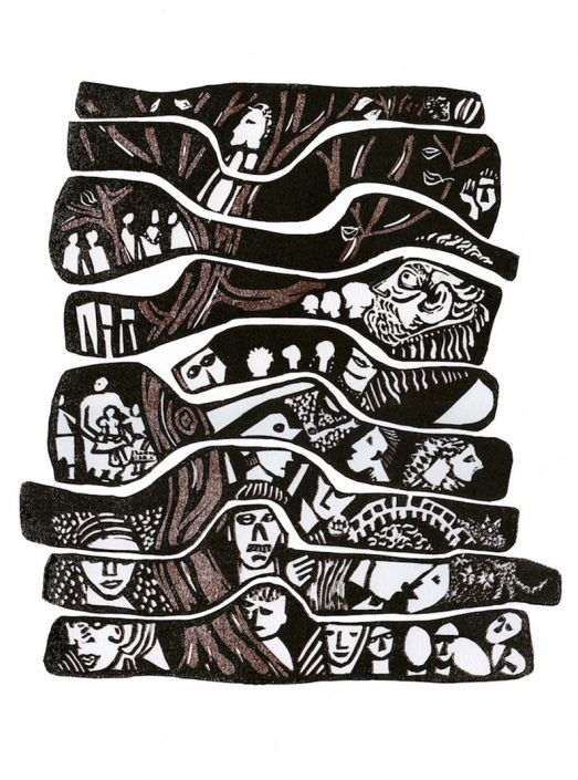 FAMILY TREE Edition 10 linocut 45x35cm POA