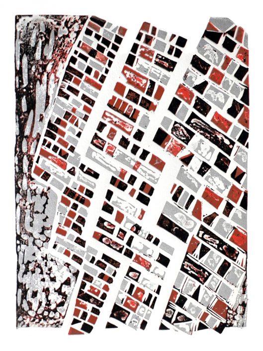 HEADLINES caustic etch linocut 48x25.5cm POA