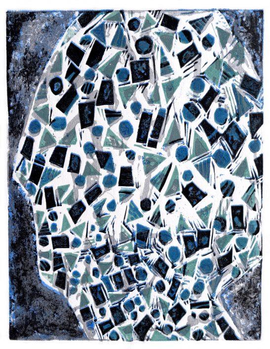 HEADSPACE caustic etch linocut 48x25.5cm POA