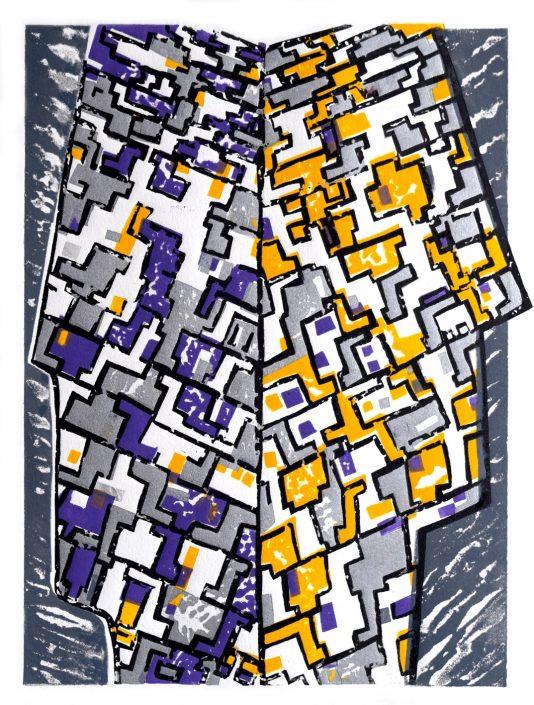 HEADSUP caustic etch linocut 48x25.5cm POA