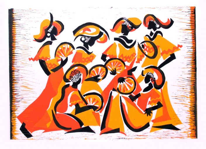 PHOTOCALL 1 REVELATIONS Alvin Ailey American Dance Theater linocut 42x70cm POA