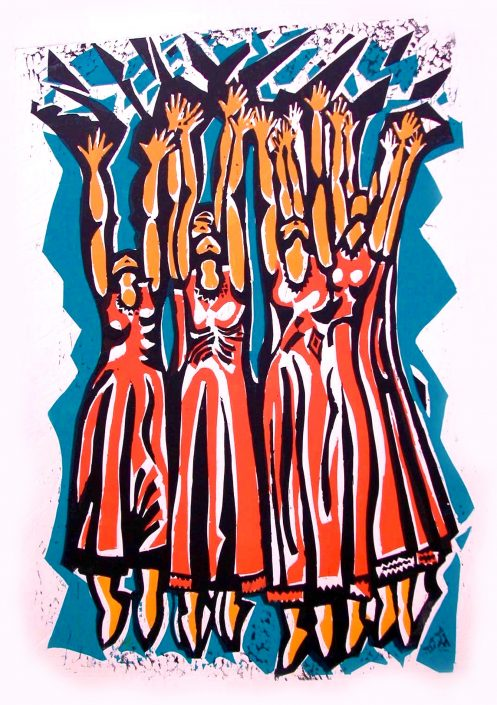 PHOTOCALL 2 REVELATIONS Alvin Ailey American Dance Theater linocut 70x42cm POA