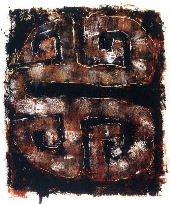 MAGENTA MAZE monoprint 90x70cm POA