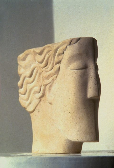 THINKING HEAD limestone view 1 22x22x4cm POA