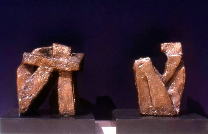 SEATED FIGURES bronze on slate 12x12x10cm POA