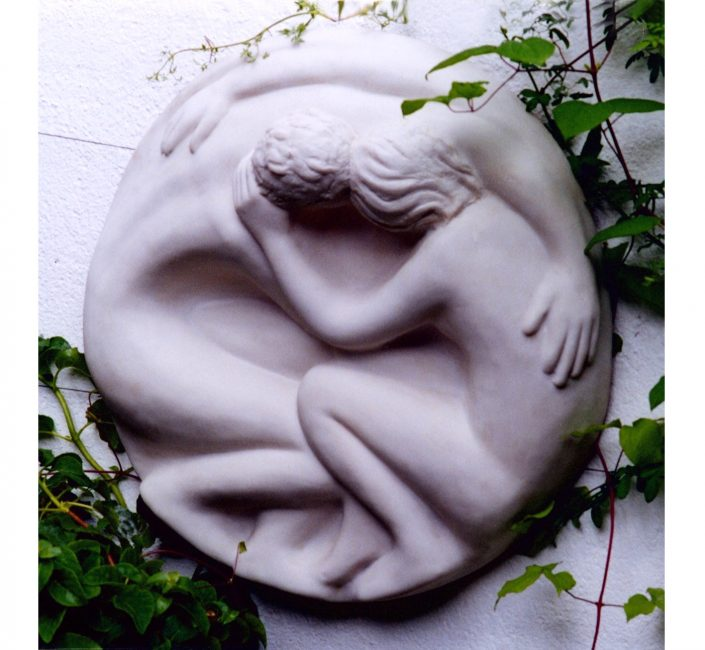 LOVERS ROUNDEL cast marble resin 60cm diameter POA