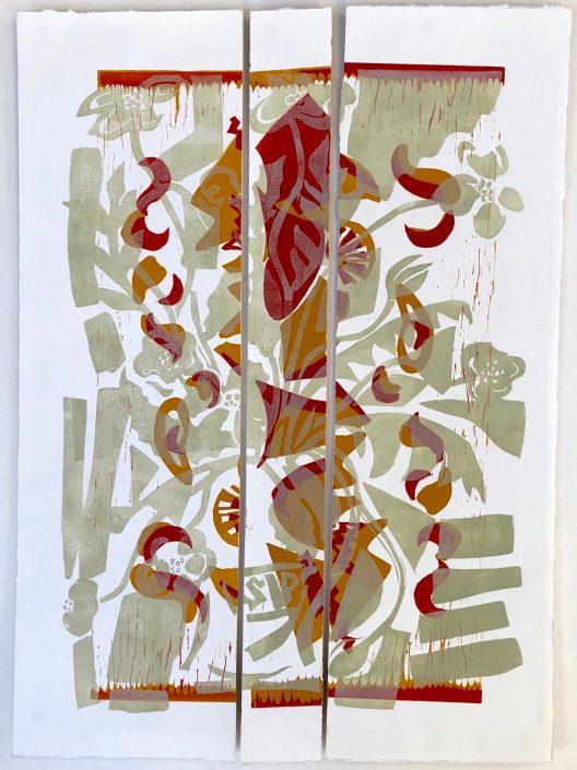 POPPY PALIMPSEST linocut 82x64cm POA