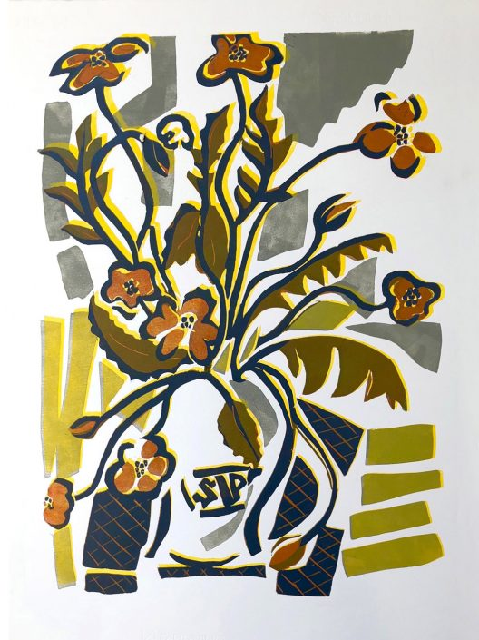 WHERE POPPIES GROW linocut 82x64cm POA